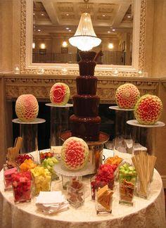 Unique presentation for a chocolate fountain.