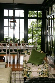 amazing windows and the acid green fabric!design by windsor smith