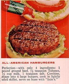 Grandma\'s Vintage Recipes and other Retro Recipes from Recipe Rewind Retro Recipes, Vintage Recipes, Ethnic Recipes, Tabasco Hot Sauce, Burger Recipes, 4 Ingredients, Salmon Burgers, Ground Beef