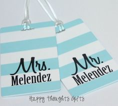 Set of TWO Personalized Rectangle Luggage by happythoughtsgifts