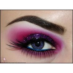 Eye Makeup Pink matte and purple glitter #eyes #eye #makeup #smokey... ❤ liked on Polyvore featuring beauty products, makeup, eye makeup and eyes