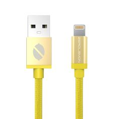 ZeroLemon Yellow Lightning to USB Rugged Nylon Cable 6.4 ft / 2m + Aluminum Cap -Apple MFi Certified