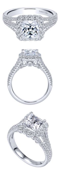 Gabriel & Co. - A stunning 18k White Gold Contemporary Halo Engagement Ring.