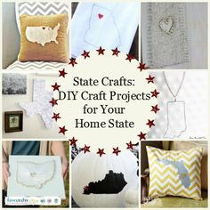 Check out State Crafts: DIY Craft Projects for Your Home State. Learn how to make state wall art, a home state applique, state string art and more from this collection of state pride projects!