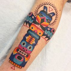 Winston the Whale - northwest native inspired totem pole tattoo @winstonthewhale