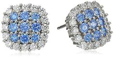 Sterling Silver Swarovski Blue and White Cubic Zirconia Stud Earrings - http://www.womansindex.com/sterling-silver-swarovski-blue-and-white-cubic-zirconia-stud-earrings/