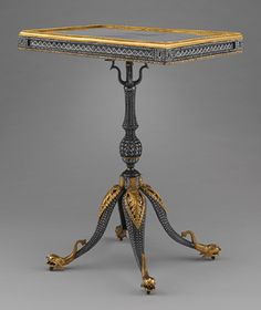 Center table, ca. 1780–85  Russia (Tula, Imperial Armory)  Steel, silver, gilded copper, gilded brass, basswood, mirror glass (replacement)