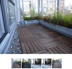Deck tiles, river rocks, and grass on an apartment balcony.  Looks so cute.