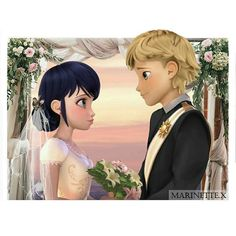 Adrien and Marinette getting married. My edit. Comics Ladybug, Ladybug Y Cat Noir, Miraclous Ladybug, Anime Miraculous Ladybug, Miraculous Ladybug Wallpaper, Marinette E Adrien, Adrian And Marinette, Les Miraculous, Adrien Miraculous
