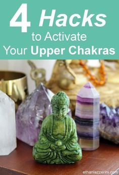 Chakra Crystals: Learn the Chakra Hacks to activate ALL your Upper Chakras with just ONE crystal. Awaken your spiritual power, sharpen communication skills and enhance your intuition with any of these four powerful chakra crystals! #chakras #meditation #hacks