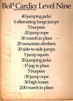 BoP Cardio: Level 9/10  #workout #fitnessworkout