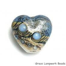 Grace Lampwork Beads // 11831905 - Sweet Blue Stardust Heart