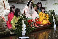 Ceremonial purification for the traditional festival  aoi-matsuri