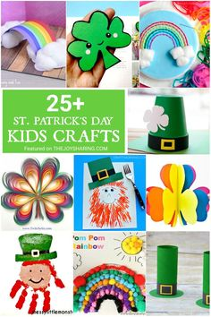 Cute and simple kids crafts for St. Easy St Patrick's day crafts for preschoolers, prek and kindergarten kids. Lots of easy shamrock crafts, simple rainbow craft ideas and fun leprechaun crafts for kids. St Patricks Day Crafts For Kids, St Patrick's Day Crafts, Crafts For Kids To Make, Arts And Crafts Projects, Craft Activities For Kids, Preschool Crafts, Fun Crafts, Paper Crafts, Preschool Books