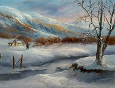"""""""Christmas in the Mountains"""" Oil Painting by Kevin Hill Watch short oil painting lessons on YouTube: KevinOilPainting Visit my website:www.paintwithkevin.com Find me on Facebook: Kevin Hill Follow me on Twitter: @Kevin Hill"""