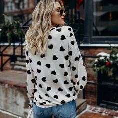 Heart Print Pullover Top and Sleeves Valentine Outfits For Women, Cute Valentines Day Outfits, Valentine's Day Outfit, Outfit Of The Day, Outfit Ideas, Casual Outfits, Cute Outfits, Heart Sweater, Sweet Dress