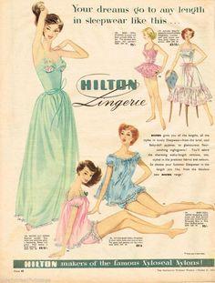 HILTON LINGERIE AD WOMEN'S FASHION SLEEPWEAR Vintage Advertising 1956