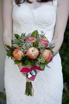 Apple bouquet for a fall wedding. Fall Wedding Bouquets, Bride Bouquets, Floral Bouquets, Spring Weddings, Bride Flowers, Wedding Flowers, Red Velvet Wedding Cake, Vegetable Bouquet, Wedding Notes