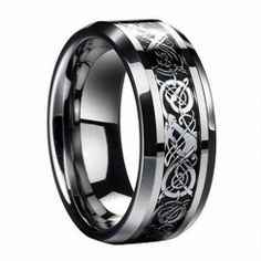 Elegant Silver Inlay Blue Tungsten Carbide Ring Tungsten carbide