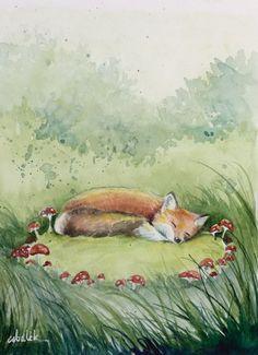 Le renard roux qui dort dans une clairière avec de la peinture originale de champignons