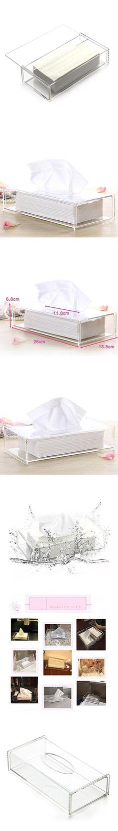 Aoert Acrylic Tissue Dispenser Box Rectangle Clear Tissue Box Cover Decorative Napkin Holder - Bathroom Facial Tissue Holders