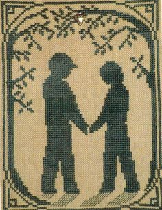 Handblessings Sweetheart Walk (with charm) - Cross Stitch Pattern. From the Summer Silhouettes Series. Model stitched on 28 Ct. Coffee Lugana with Splendor #S83