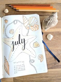 July bullet journal month page seashells illustration Bullet Journal Ideen Bullet Journal Month Page, Bullet Journal 2020, Bullet Journal Aesthetic, Bullet Journal Notebook, Bullet Journal Inspo, Bullet Journal Layout, Bellet Journal, Journal Themes, Journal Ideas