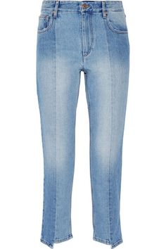 Tonal-blue denim Button and concealed zip fastening at front 100% cotton Machine wash