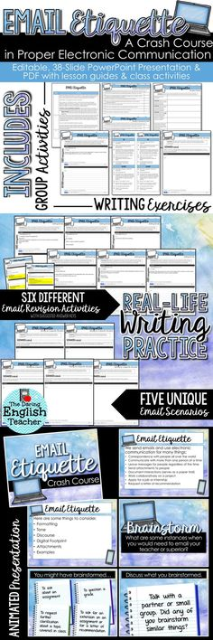 Help your students learn proper email etiquette with this mini-unit that teaches students how to properly email a teacher, boss, or professor. Ideal for the middle school and high school English language arts classroom, this resource includes an editable PowerPoint presentation and a PDF file filled with resources and activities.