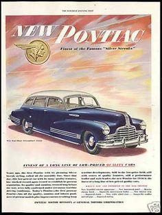 Pontiac Silver Blue Streamliner Sedan Car (1946)  My parents had a car like that - it was a convertible, too - Marcie Fleischman