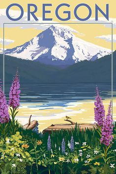 Oregon - Mountain and Lake - Lantern Press Poster