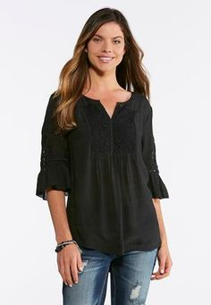 2b05f216910 Cato Fashions Plus Size Solid Lace And Crochet Poet Top  CatoFashions Cato  Fashion Plus Size