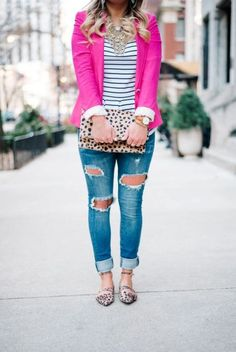 With striped shirt, distressed jeans, leopard clutch and flats