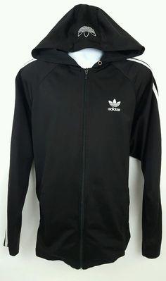 Adidas Men's Black Hooded Firebird Track Jacket Sz Large #adidas #CoatsJackets