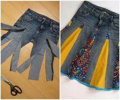 Diy old pants tuns to skirt