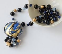Gold foil murano glass, blue goldstone, lapis and aventurine silver necklace £95.00