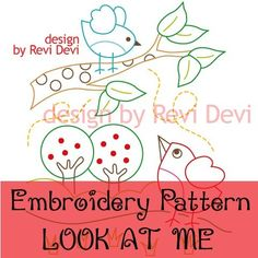 Half price.. Look At Me 15015 - Cute Embroidery Pattern - PDF download - Whimsical design. $2,50, via Etsy.