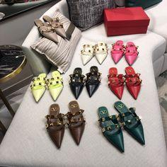 ⭐️Valentino. VLTN woman rockstuds collection big studs flats & heels sandals slippers smooth leather 1.5/3.5cm Valentino Shoes Flat, Valentino Women, Studded Sandals, Smooth Leather, Studs, Girl Fashion, Slippers, Woman, Big