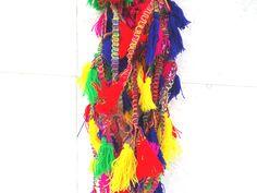 Multicolor tassel lace, 7 yards tassel trim, tassel tape, tassel border, tassel fringe trim, dress decor, tablemat border, scarf tassel lace by craftcoloursindia on Etsy