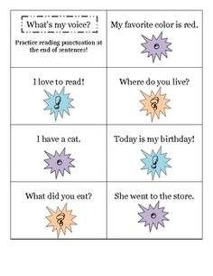 What's my Voice? Fluency and punctuation practice