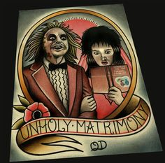 Beetlejuice art print. Unholy Matrimony. Wedding Gift Idea