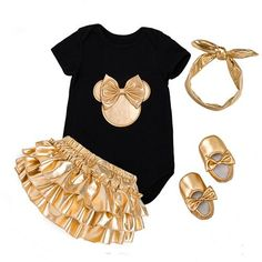 Discount This Month 2018 Baby Girl Clothes Clothing Sets Black Cotton Rompers Golden Ruffle Bloomers Shorts Shoes Headband Newborn Clothes Black Girl Fashion, Fashion Kids, Style Fashion, Fashion Outfits, Newborn Outfits, Kids Outfits, Ruffle Bloomers, Autumn Clothes, Cute Baby Clothes