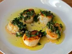 Seared Scallops with Salsa Verde from Serious Eats (http://punchfork.com/recipe/Seared-Scallops-with-Salsa-Verde-Serious-Eats)