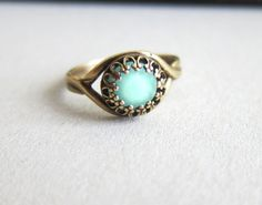 Aquamarine Ring Turquoise Ring Blue Mint Ring Teal Cyan Antique Filigree Swarovski Crystal Mother's Day Gift Jewelry Ring