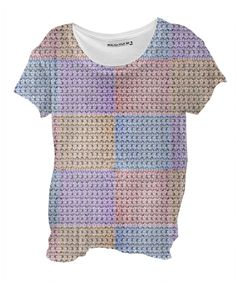 Crochet Pastel Drape Shirt By mae-glenn $48.00  This original design was made from classic crochet stitches, formed into squares. The pastel colored squares, lavender, pink, gold and blue, have been made into a quilt pattern.