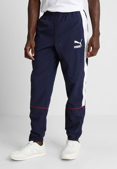 Puma RETRO PANTS - Tracksuit bottoms - peacoat for Free delivery for orders over Mens Jogger Pants, Jogger Shorts, Track Suit Men, Tracksuit Bottoms, Puma Mens, Parachute Pants, Sweatpants, Mens Fashion, Hoodies