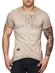 K&D Men Asymmetrical Perforated Kanye Yeezy Style Ripped Holes T-shirt - Beige