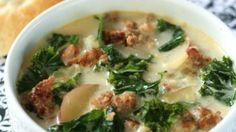 If you love the Zuppa Toscana at your local chain Italian restaurant, you will adore this soup. The rich soup is made with Italian sausage, potatoes, cream, and crushed red pepper. It is truly satisfying and irresistible. Tuck into this on a cold day and you are sure to be warmed all the way down to your toes.
