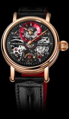 Chronoswiss Flying Grand Regulator Skeleton Red - Exquisite Timepieces jewelry watches for women Casio G Shock Watches, Fine Watches, Cool Watches, Unique Watches, Men's Watches, Best Watches For Men, Luxury Watches For Men, Silver Pocket Watch, Men Accessories