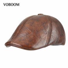 Get Best Price VOBOOM Genuine Leather Duckbill Flat Cap Six Panel Cabbie Gatsby Ivy Hat Winter Ear Protection Boina 015 #VOBOOM #Genuine #Leather #Duckbill #Flat #Panel #Cabbie #Gatsby #Winter #Protection #Boina